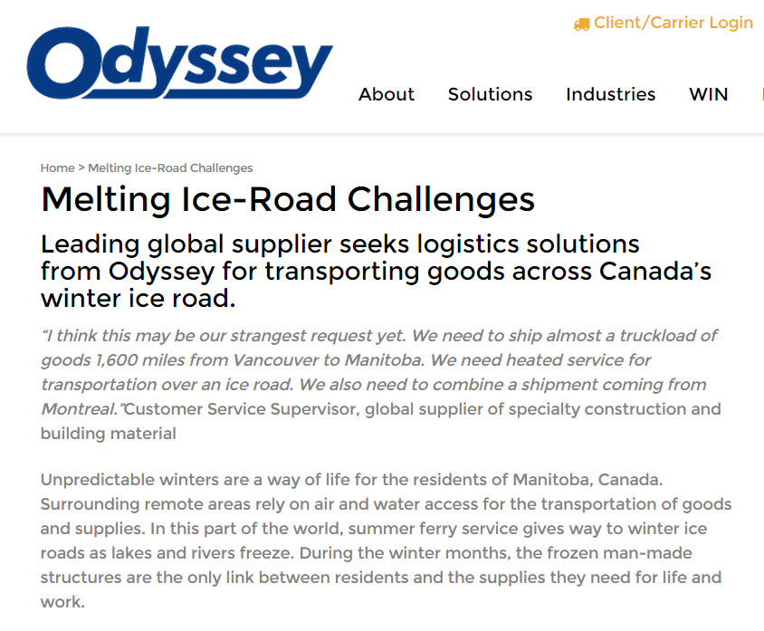 Melting Ice-Road Challenges