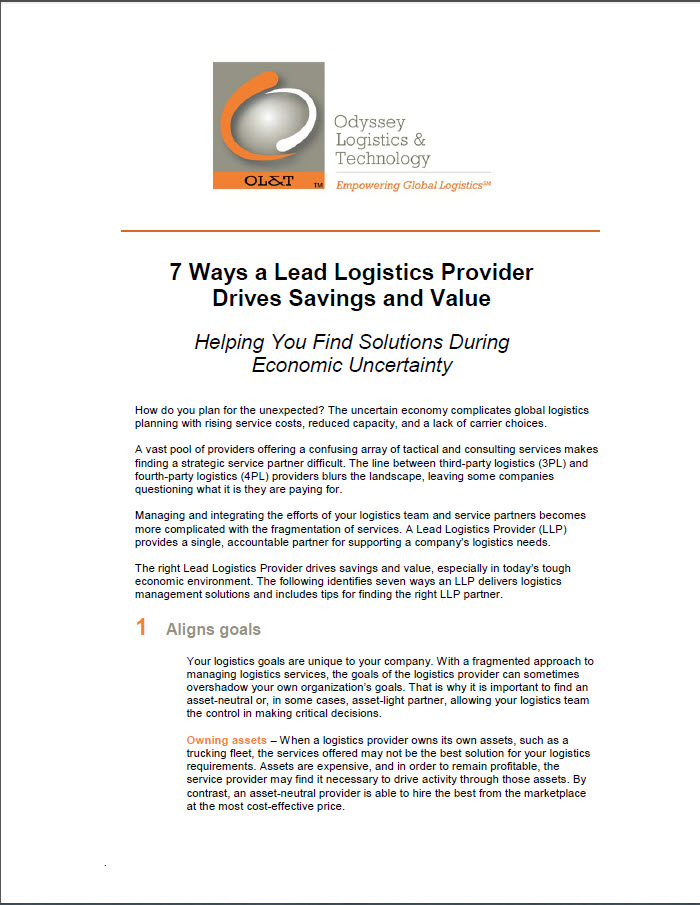 7 Ways a Lead Logistics Provider Drives Savings and Value: Helping You Find Solutions During Economi