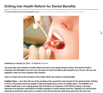 Health Reform - Dental Benefits